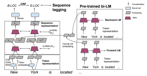 Semi-supervised sequence tagging with bidirectional language models